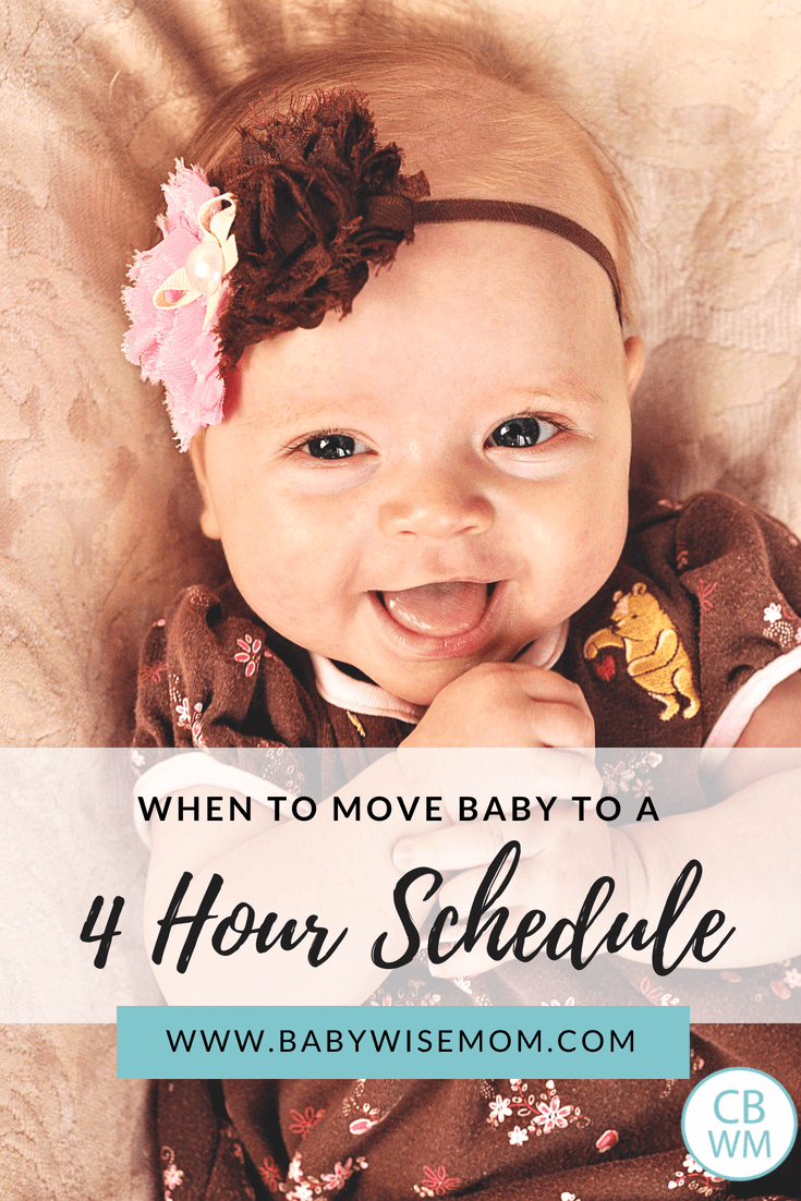 When to move baby to a four hour schedule pinnable image