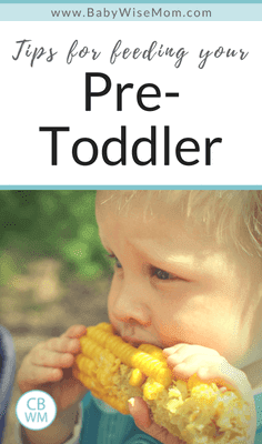 Tips for Feeding Your Pre-Toddler. Tips for feeding your 12-18 month old. What to feed and when to feed.
