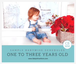 Sample Babywise Schedules for Toddlers: One to Three Years Old. Sample schedules for toddlers ages 12 months to three years old.