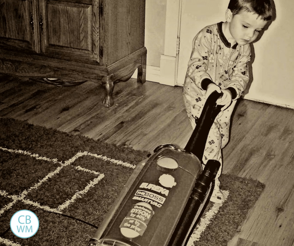 3 year old vacuuming