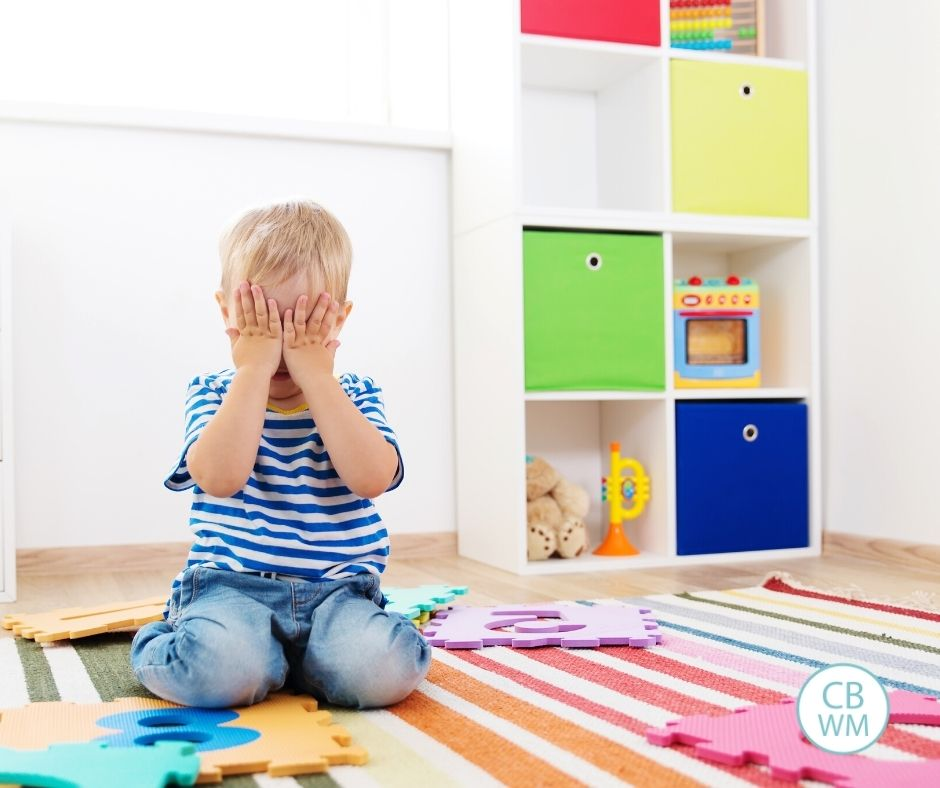 Child crying during playtime