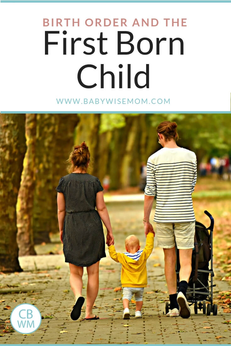 Birth order and the first born child with parents walking with their first born