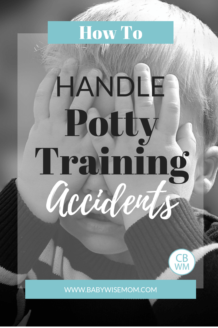 Potty Training Accidents. What to do when you face potty training problems. How to handle potty training accidents and why you should be patient with a picture of a toddler boy covering his eyes