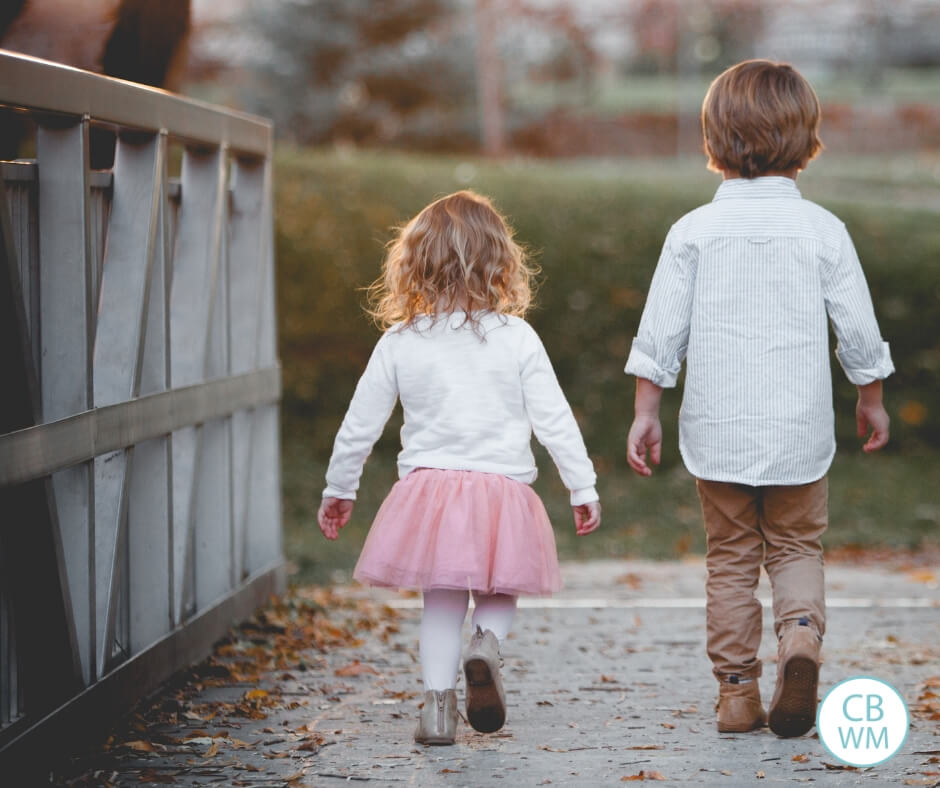 Boy and girl walking across a bridge together