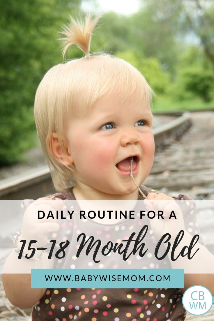 Daily Routine for a 15-18 month old with a picture of a toddler girl sitting on the train tracks