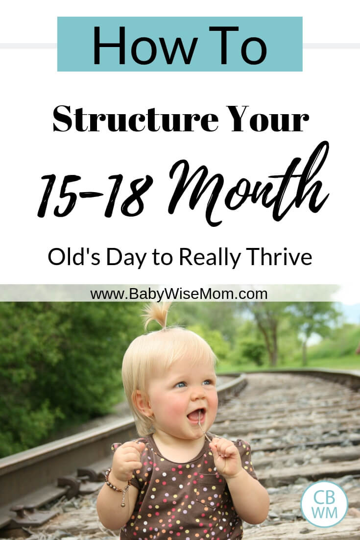 How to structure your 15-18 month old's day to really thrive and a picture of a blonde toddler girl sitting on the train tracks