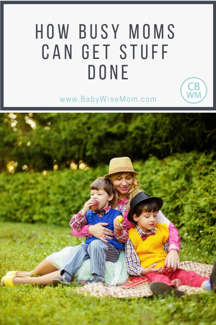 Mom with two boys sitting on a blanket on the grass with text Tips for moms to be productive and get things done. Cleaning schedule tips, daily life tips, and a sample daily schedule of a SAHM.