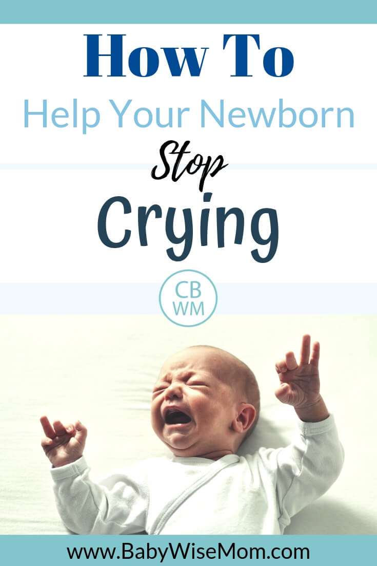 Pin image with text and a newborn baby cyring