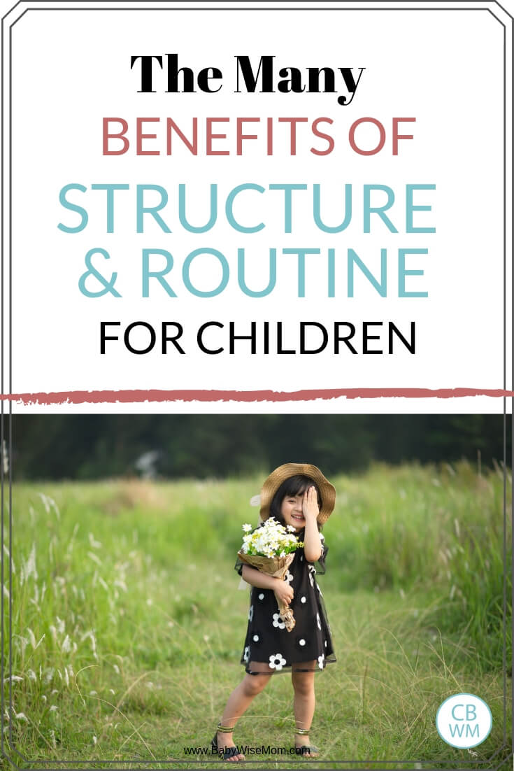 The many benefits of structure and routine for children with a picture of a girl standing in a green meadow holding a bouquet of flowers