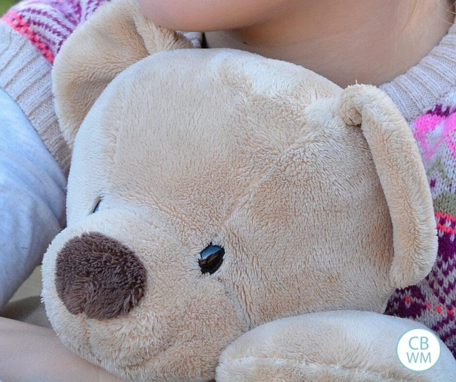 Child holding a teddy bear. The focus is on the bear.