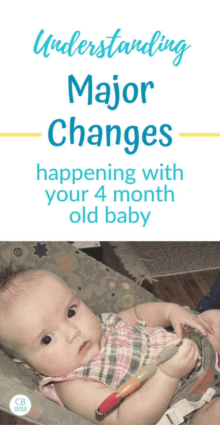 Understanding major changes in your four month old with a picture of a four month old girl in a bouncer