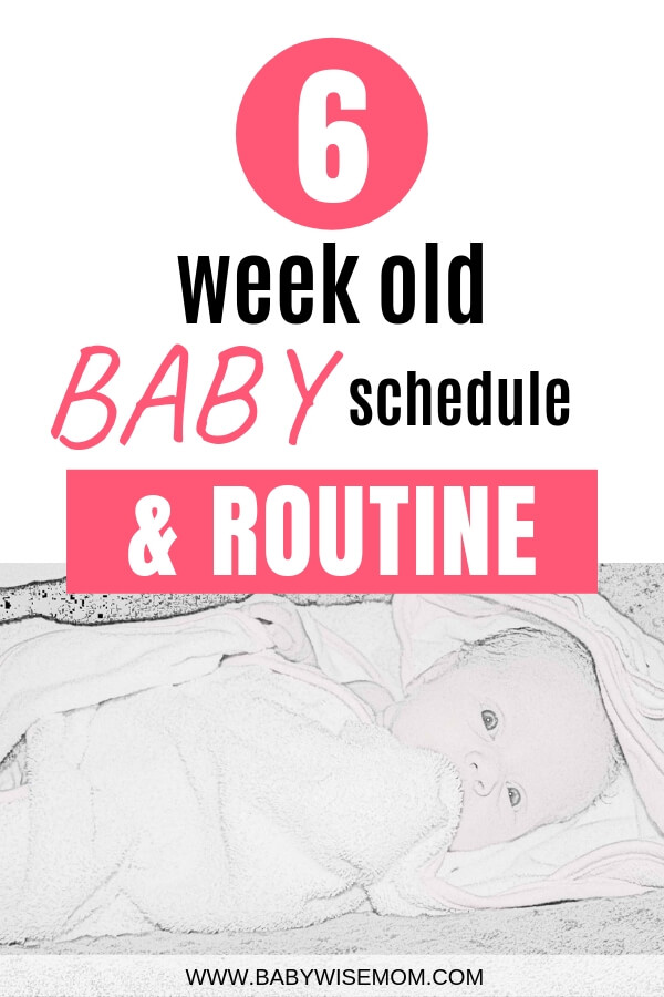 6 week old baby schedule and routine with a picture of a 6 week old baby