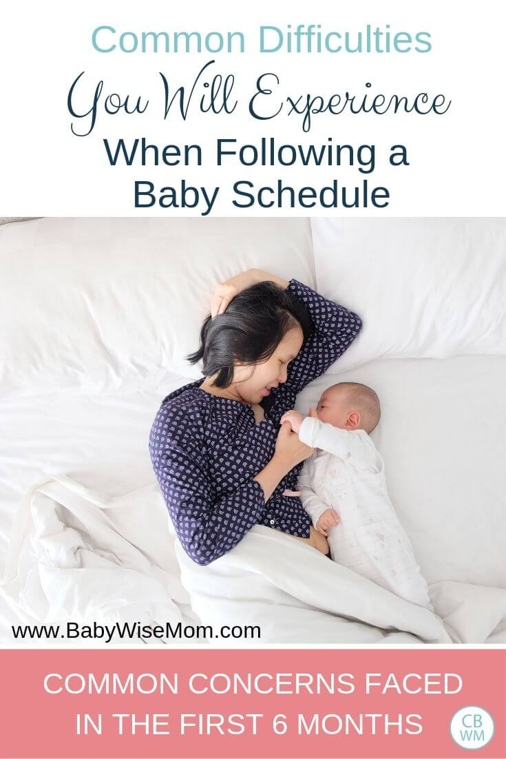 Schedule difficulties for 0-6 month old baby pinnable image with a picture of a mom and baby in bed