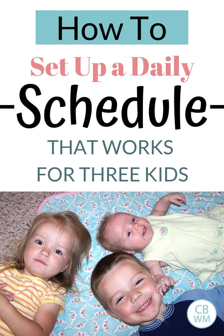 How to set up a daily schedule for three children text with an image of three children