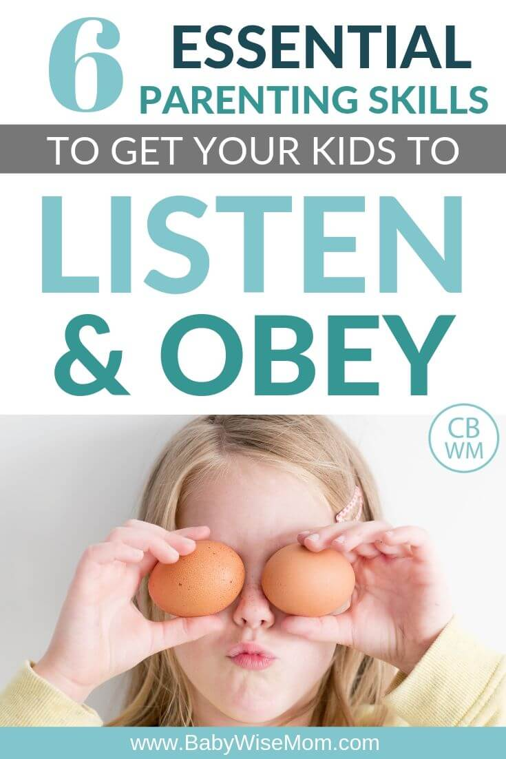 Pinnable image with text about getting children to listen and obey
