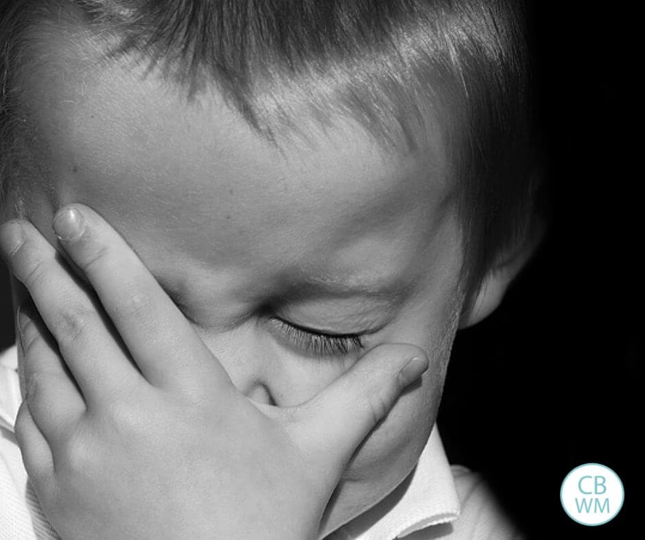 Child crying in black and white