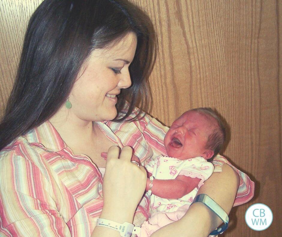 New mom holding her newborn baby