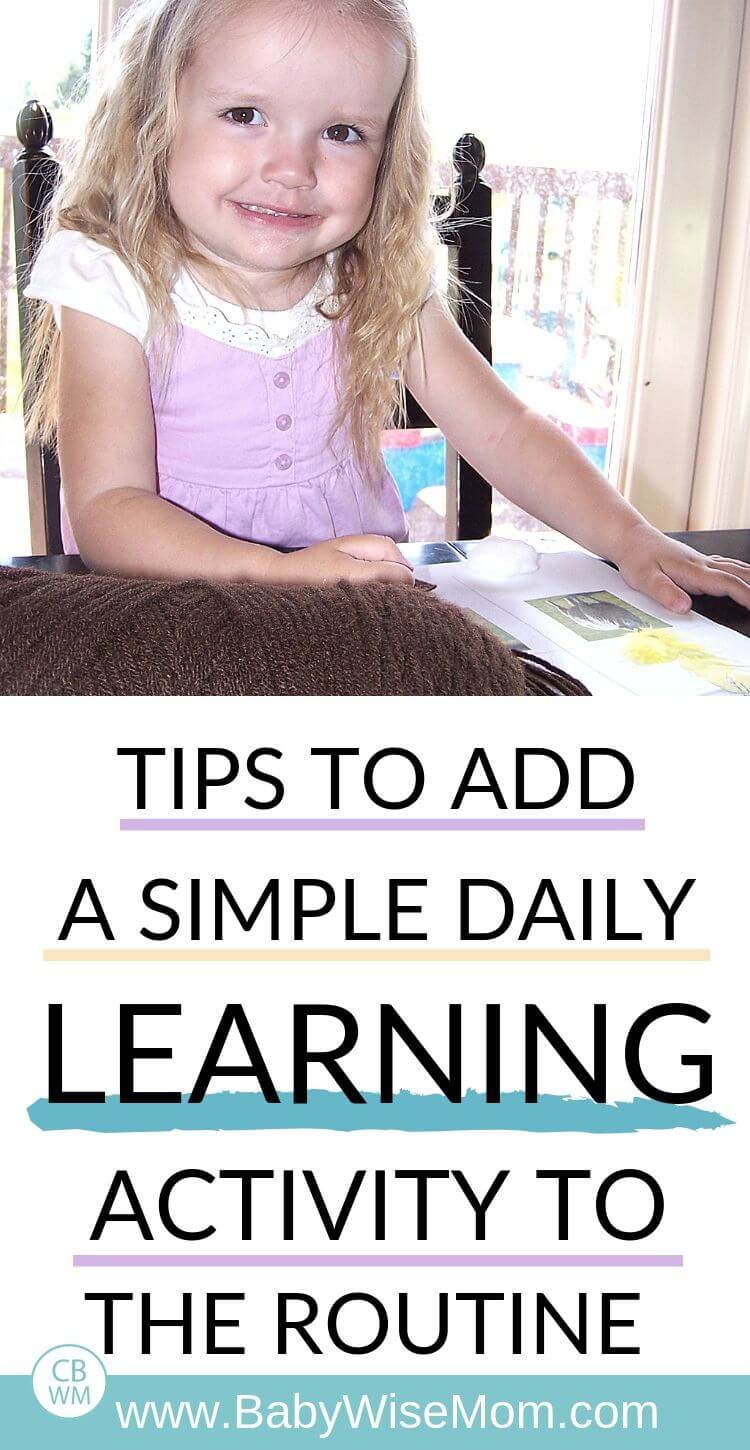 Pinnable image for the post with a picture of a girl doing a learning activity