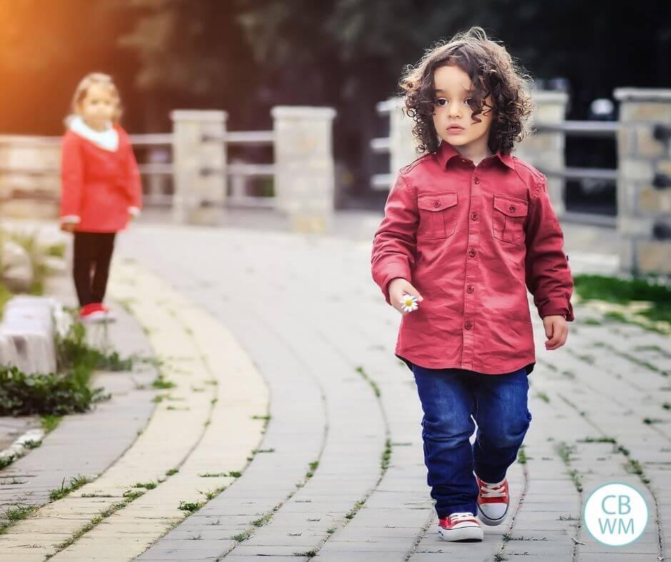 Two children on a cobblestone path