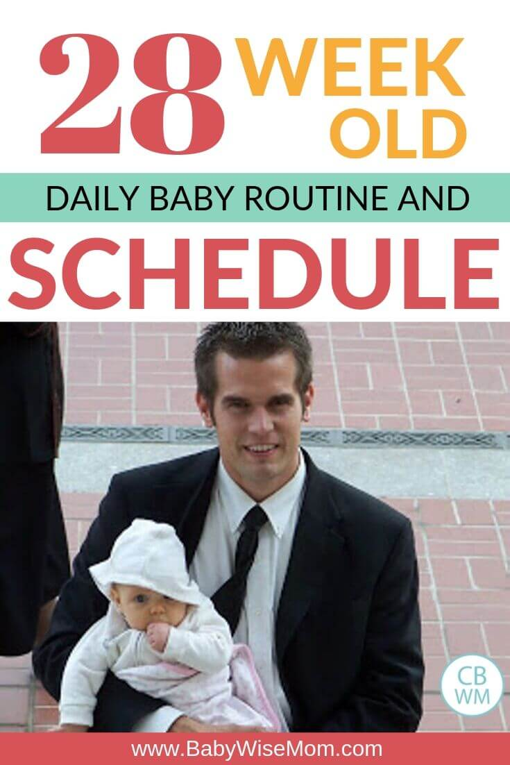 28 week old baby schedule and routine pinnable image