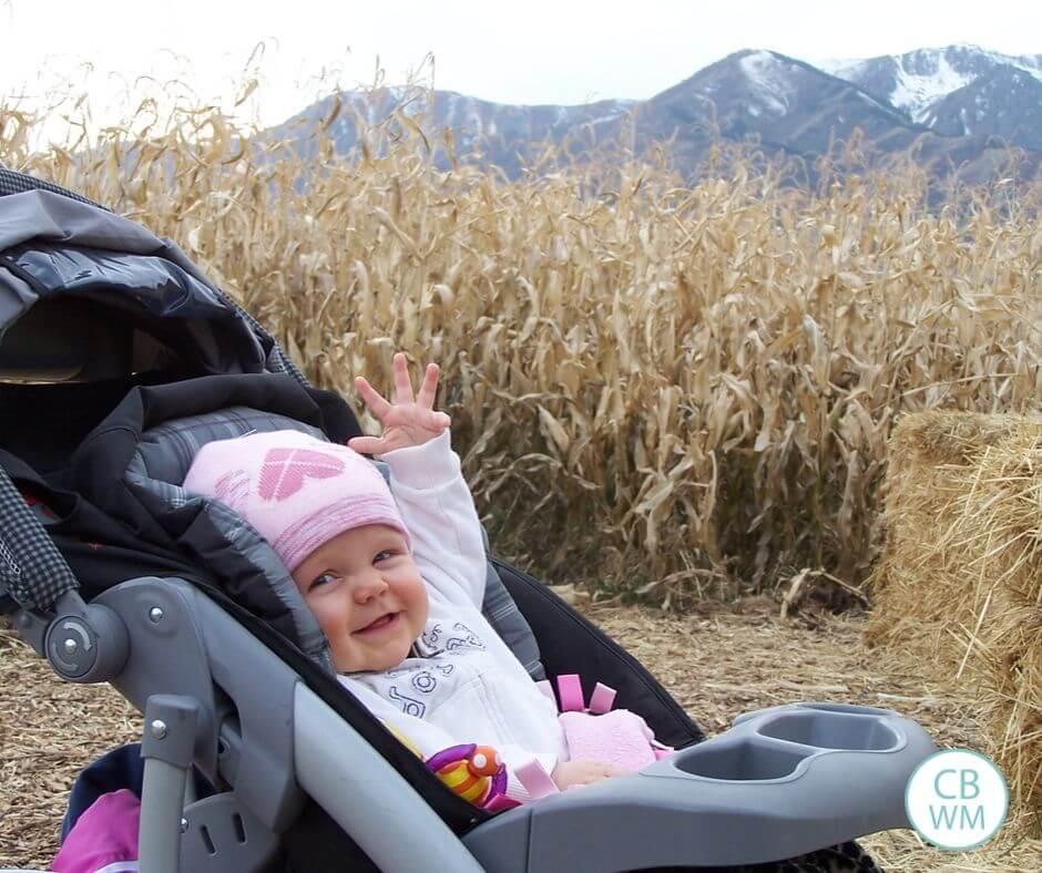 29 week old baby McKenna at the corn maze