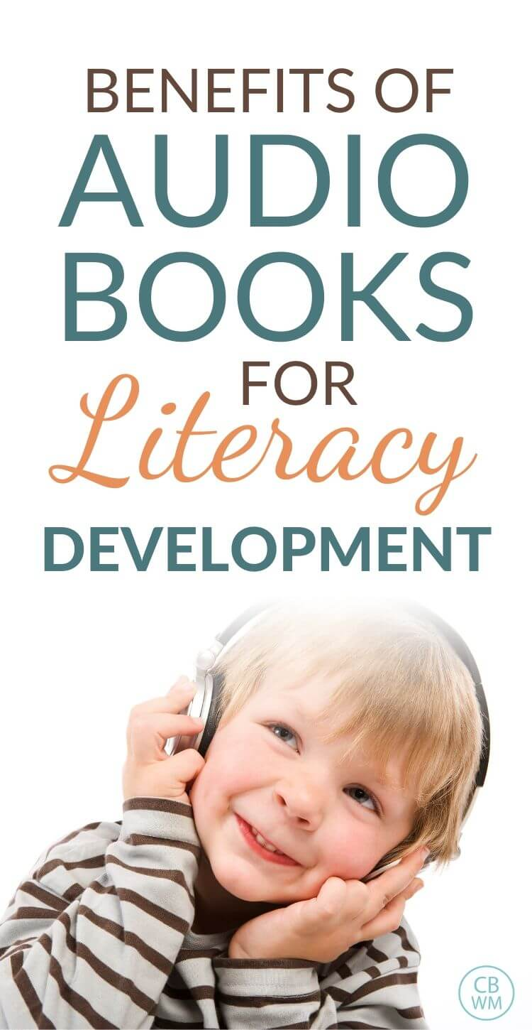 Audio books literacy development benefits Pinnable image