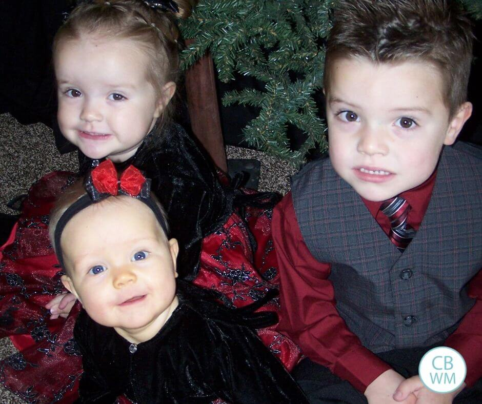 3 kids at Christmas time