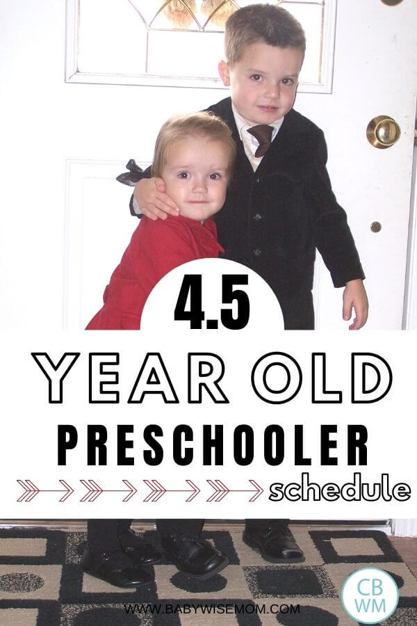 4.5 year old preschooler schedule pinnable image