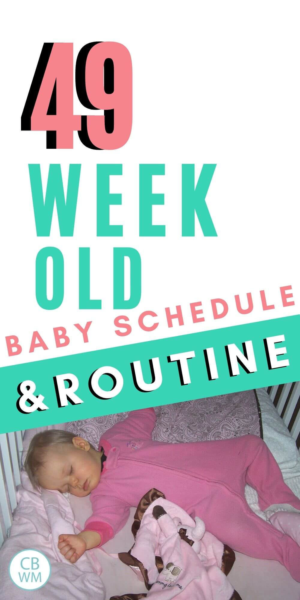 49 week old baby schedule and routine pinnable image