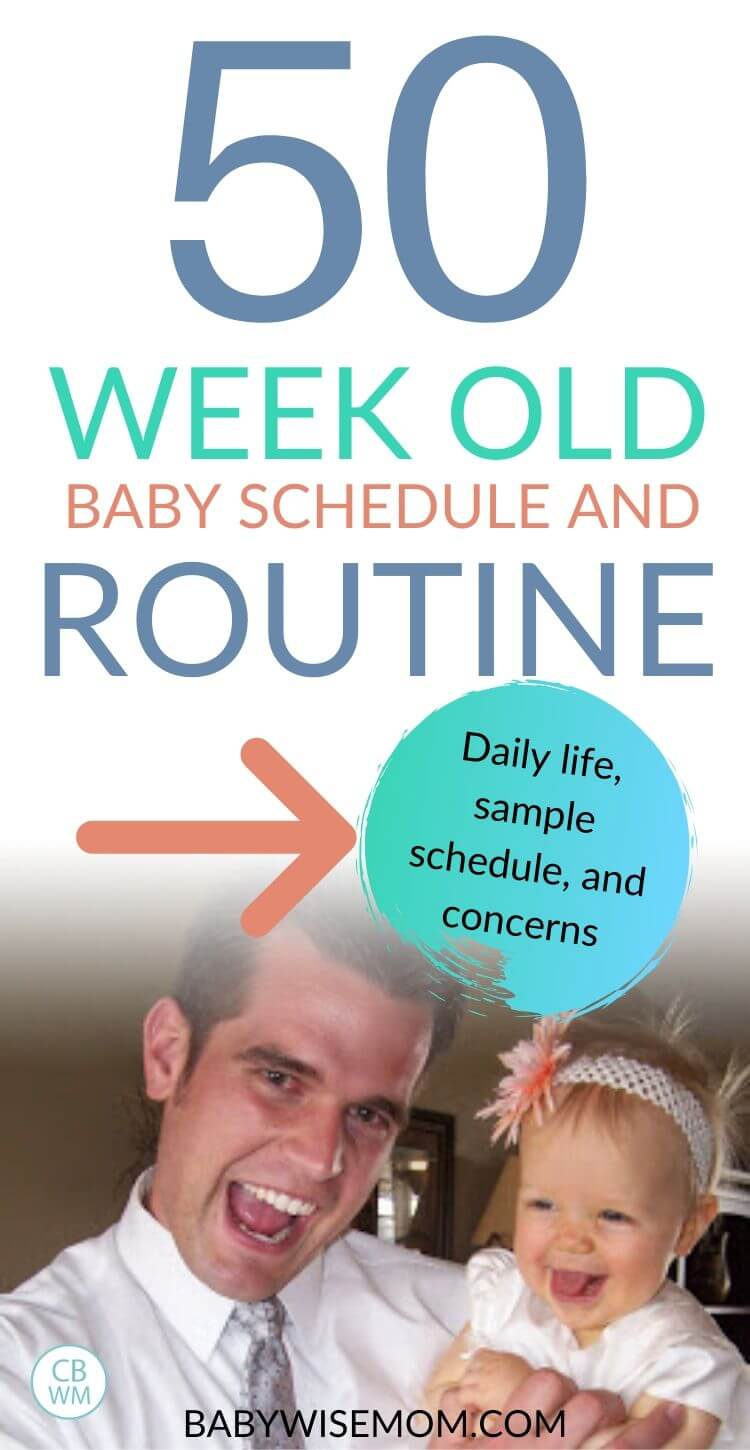 50 week old baby schedule pinnable image
