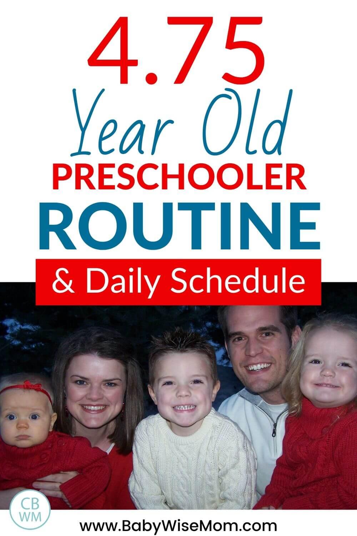 4.75 year old preschooler routine and schedule