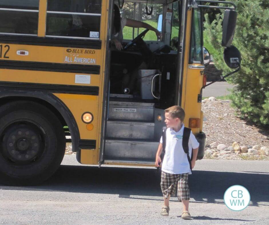 Child exiting the school bus