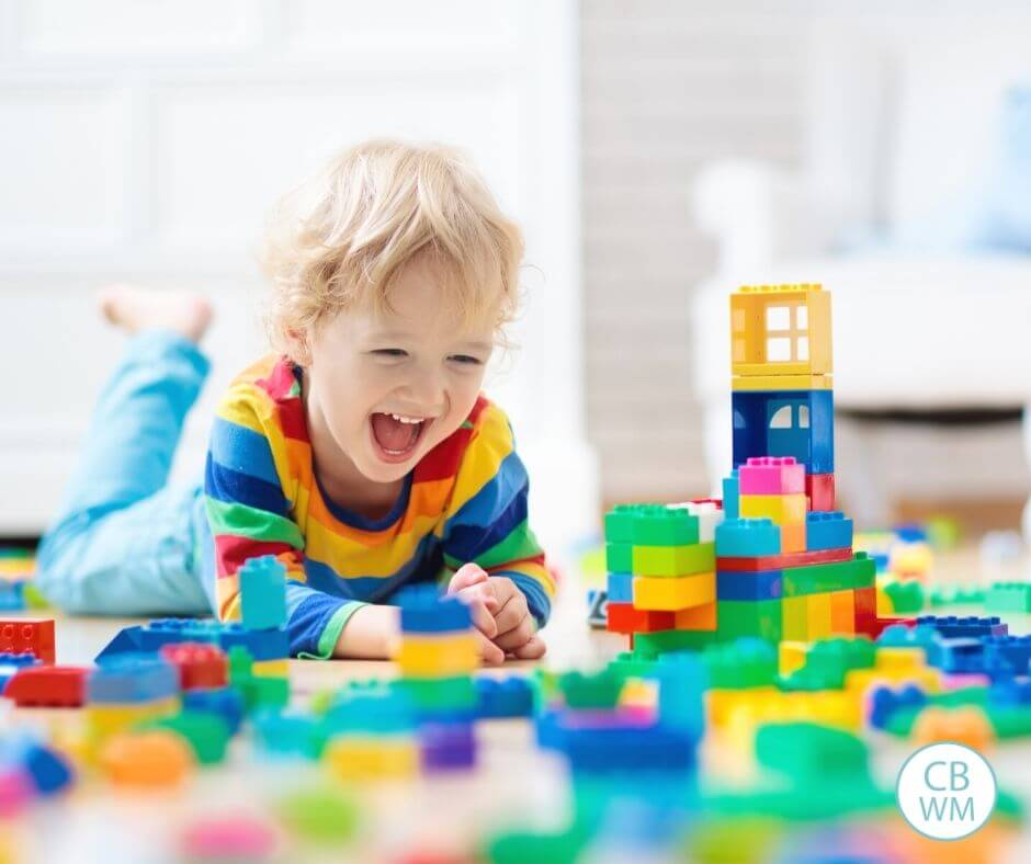 Child happily playing alone