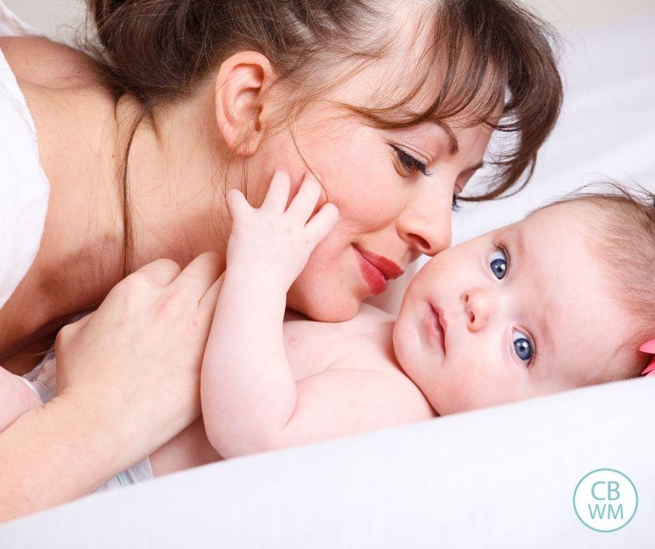 Mom in baby's face