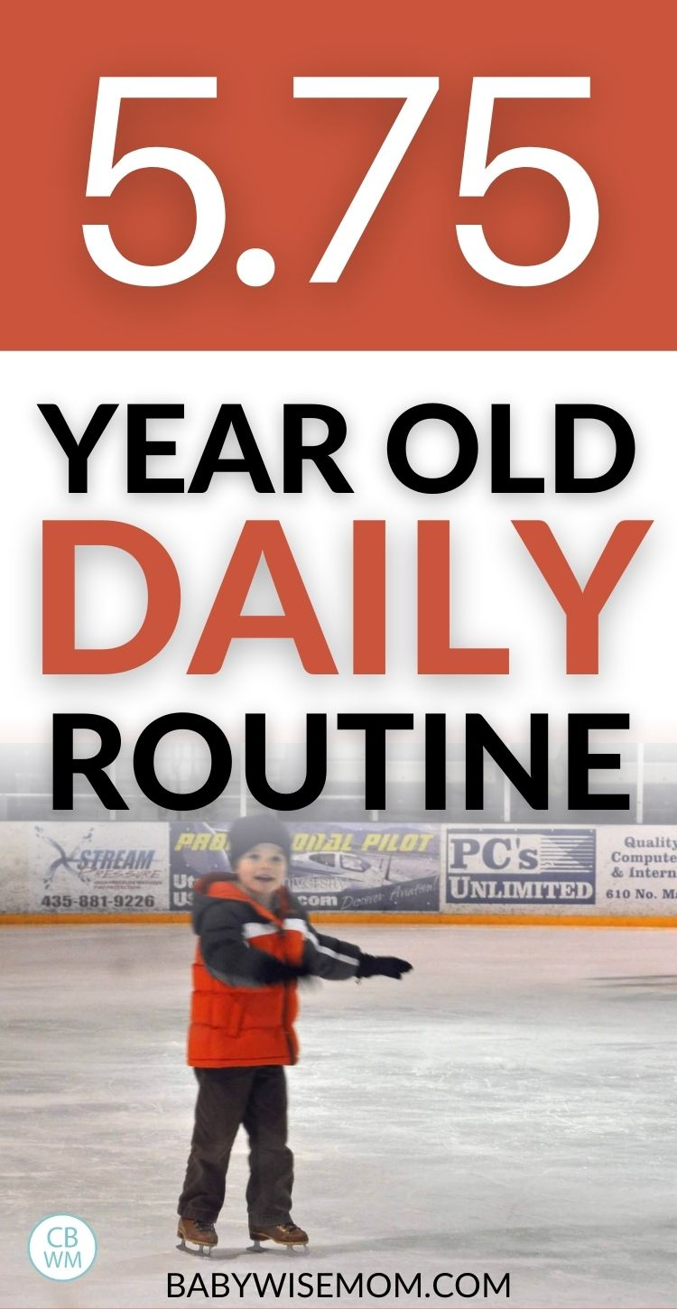 5.75 year old daily schedule pinnable image with picture of Brayden ice skating