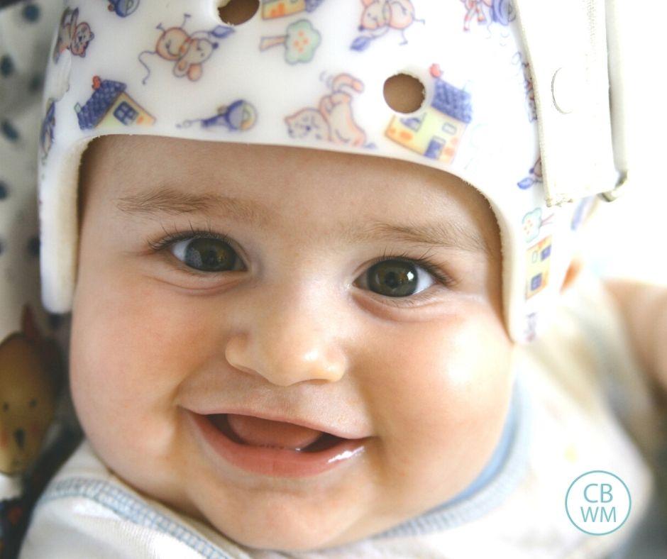 Baby in helmet for head