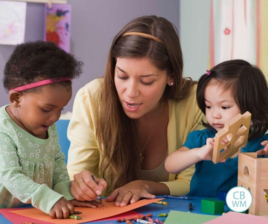 Children with a babysitter