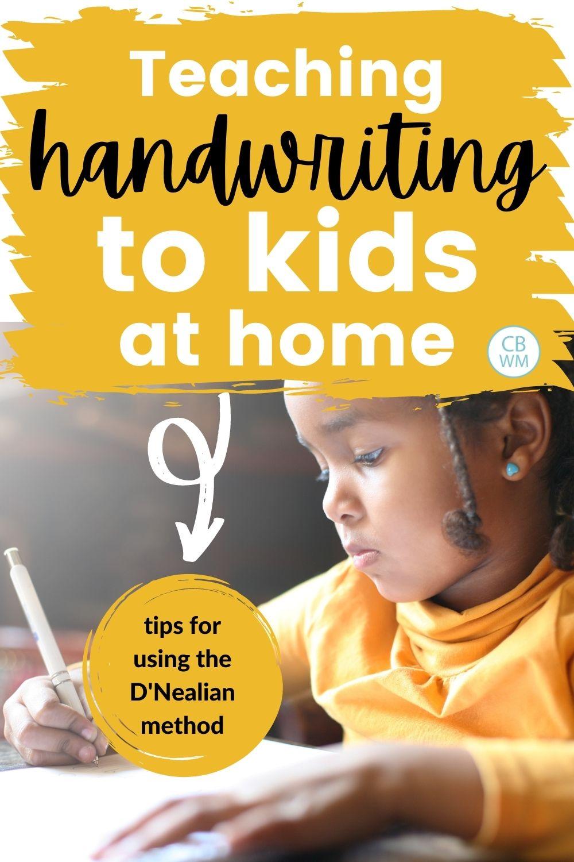 Teaching handwriting to kids at home pinnable image