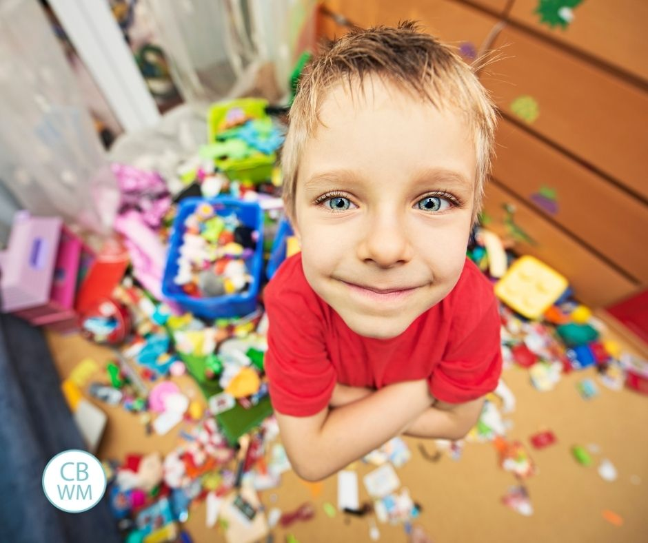 Child with a big mess in the room