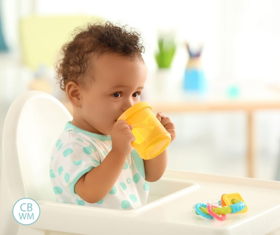 Pretoddler drinking milk from sippy