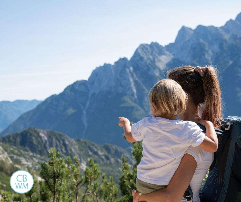 Mom and baby in the mountains