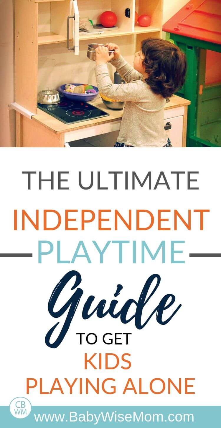 Independent playtime guide pinnable image with a girl playing with a toy kitchen