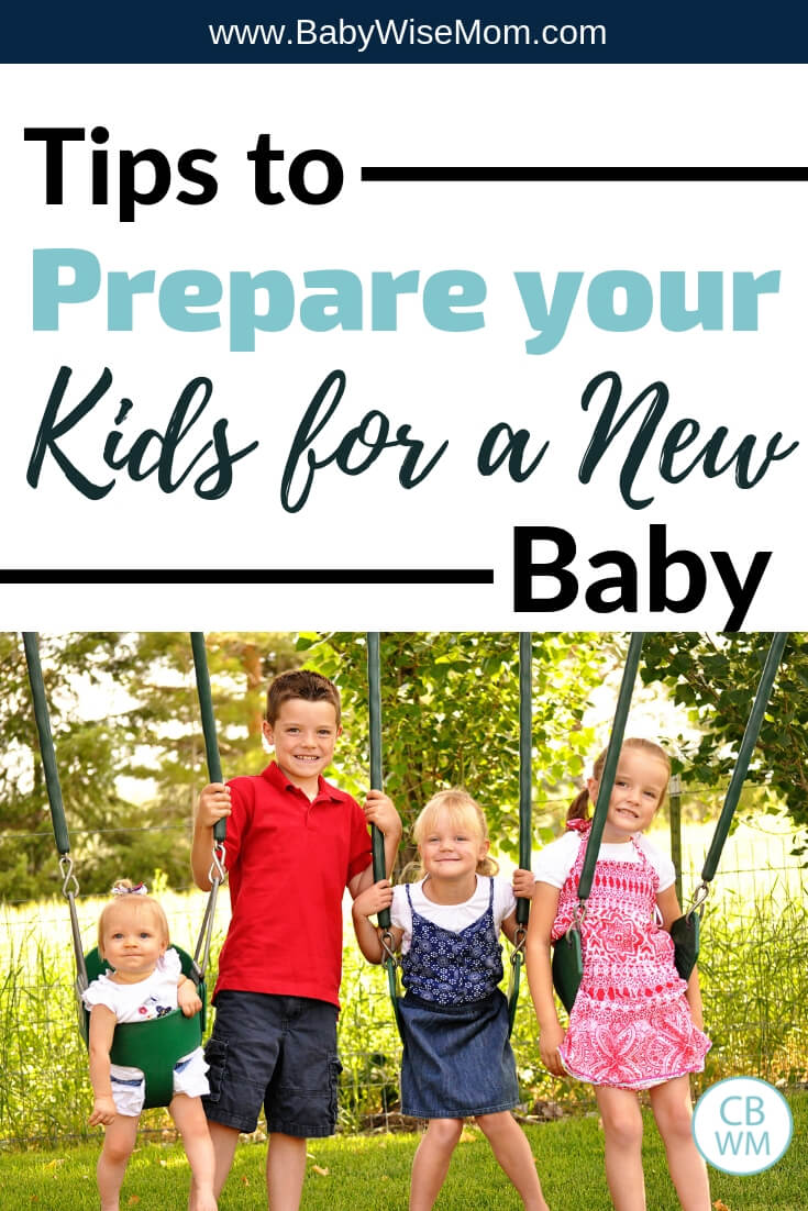 How to prepare your kids for a new baby and a picture of four children on swings