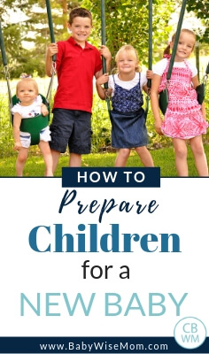 How to prepare your kids for a new baby. Tips to make the transition to a new baby easy and how to make baby's schedule work with the family's schedule with a picture of four children on swings