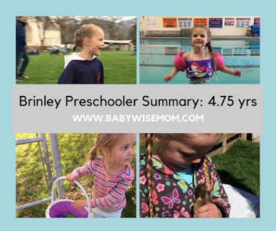Brinley Preschooler Summary: 4.75 Years Old
