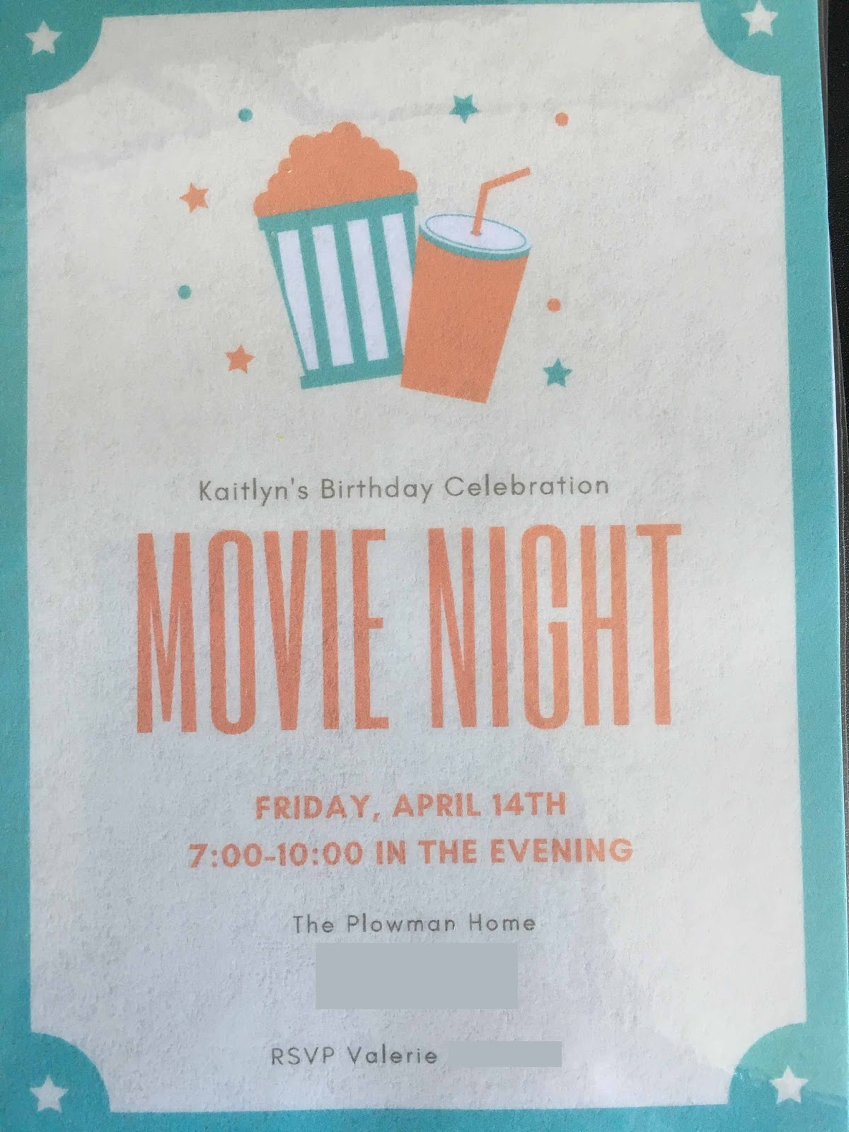 Movie night birthday party invitation idea