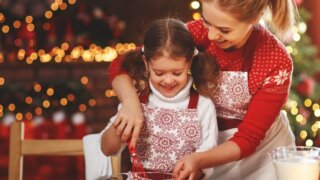 Baking with a child at Christmas
