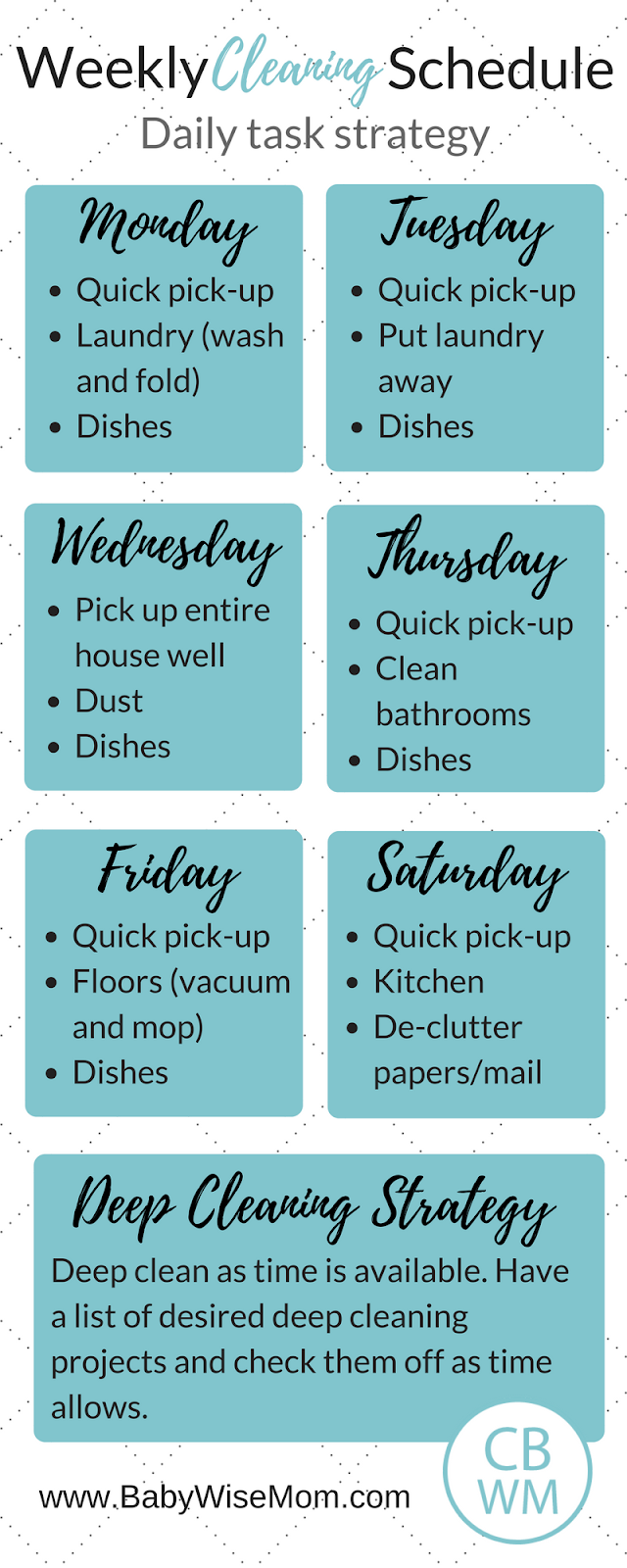 A Daily Task Cleaning Schedule