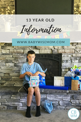 13 year old boy information. Chores for teens. Middle school years.