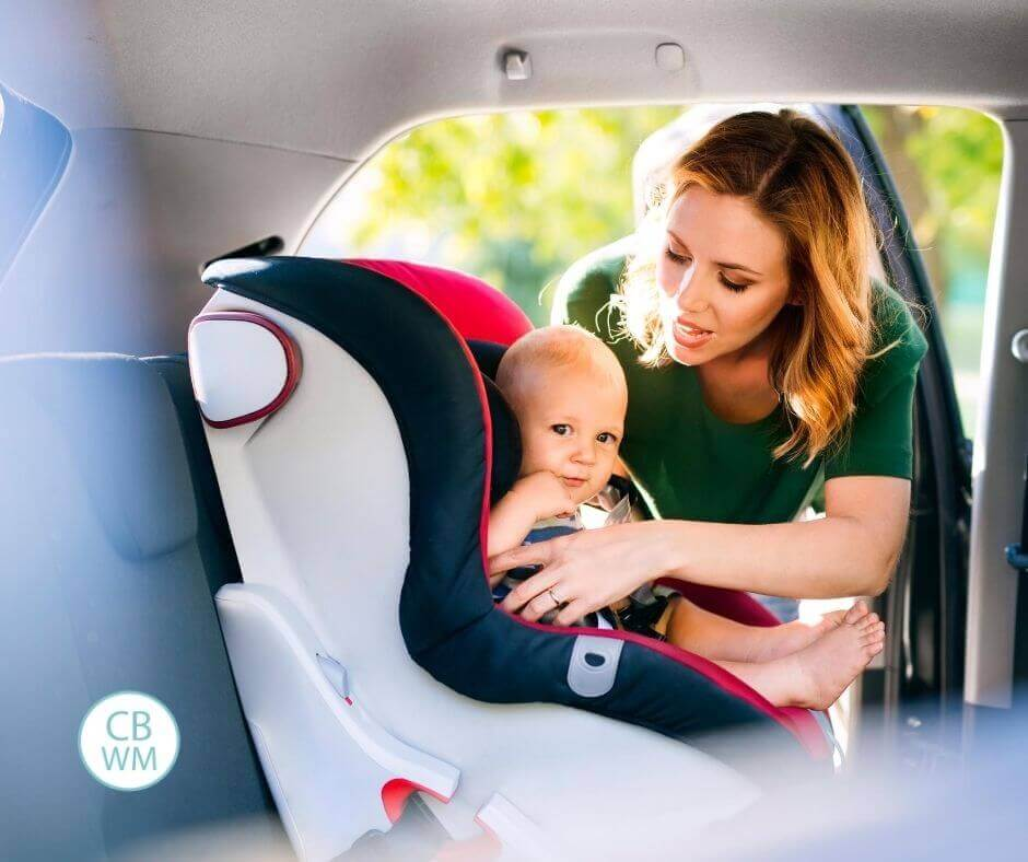 Baby in the car with mom